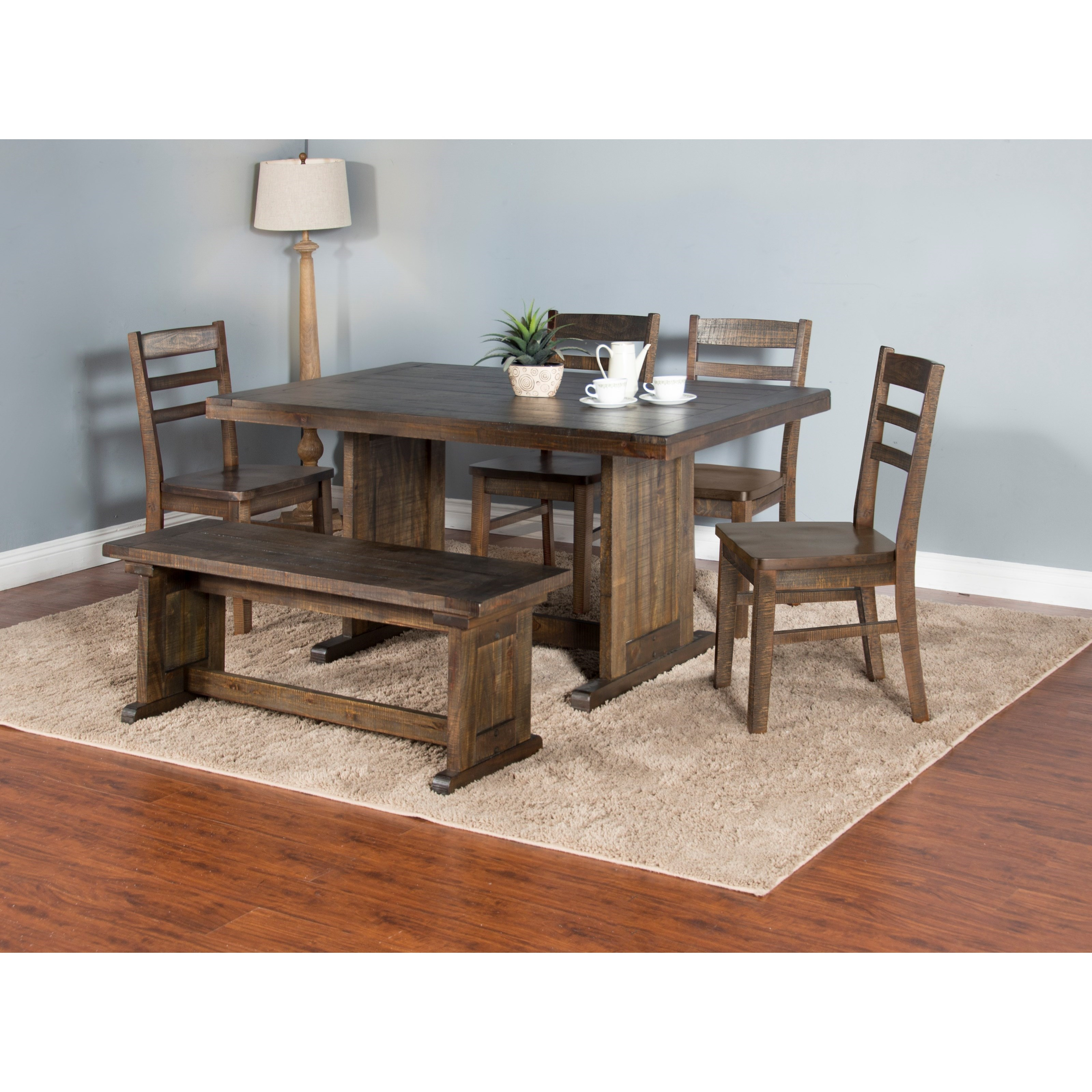 Sunny Designs Homestead Rustic Style Table With Trestle