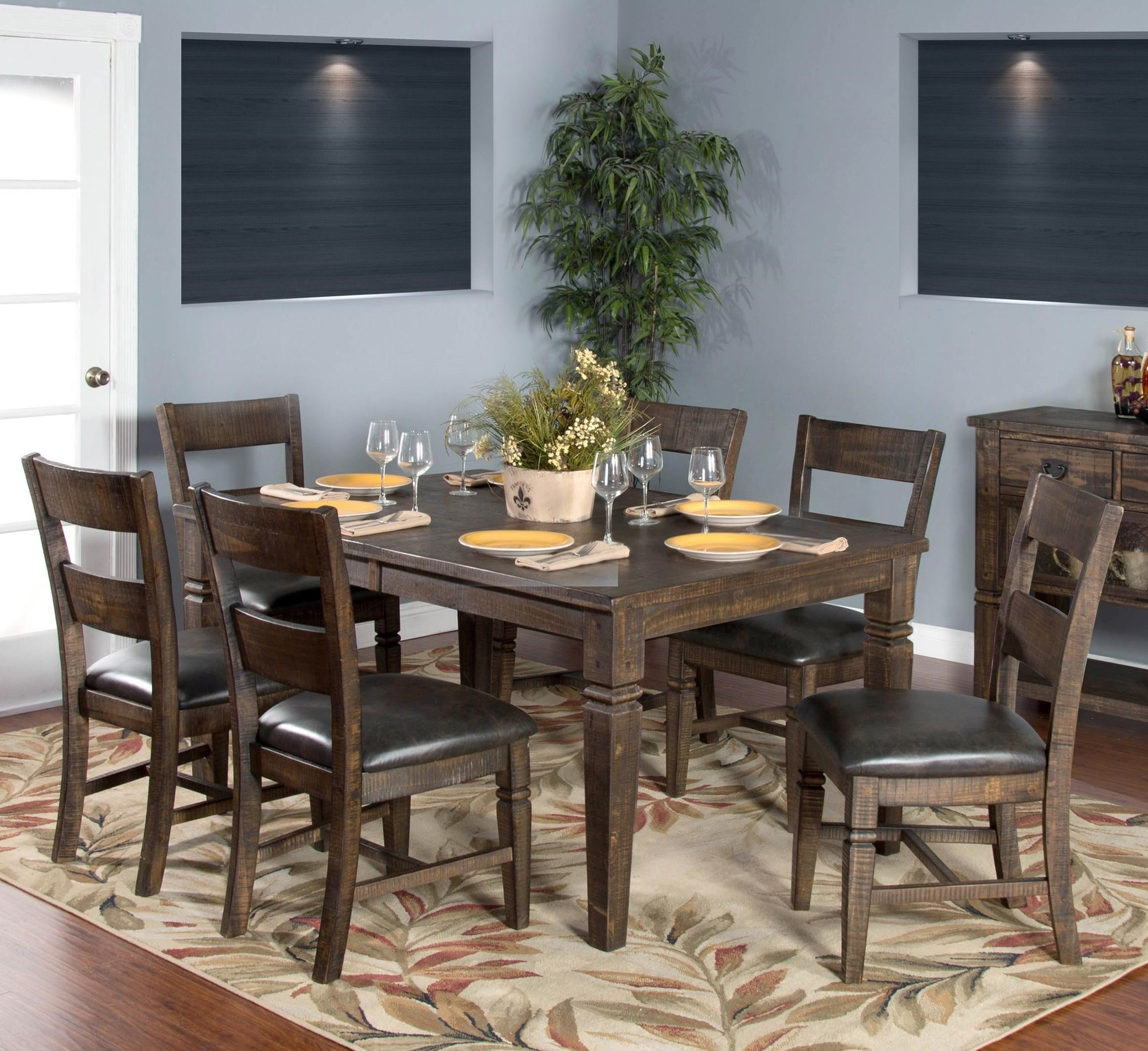 Sunny Designs Homestead 7-Piece Extension Dining Table Set - Item Number: 1012TL+6x1429TL