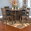 Sunny Designs Homestead 5-Piece Counter Height Table Set - Item Number: 1013TL+4x1429TL-24