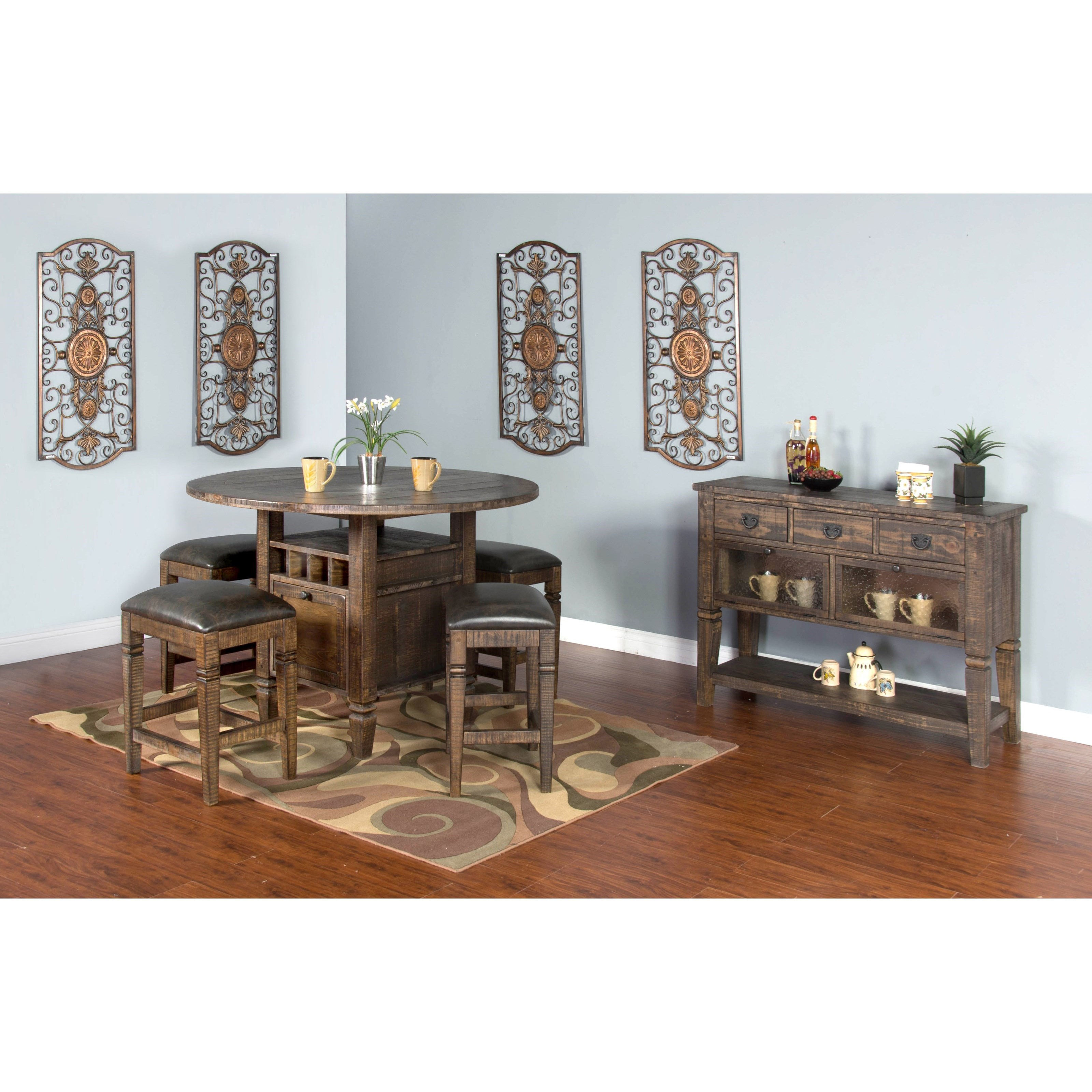 Sunny Designs Homestead 5 Piece Counter Height Table Set