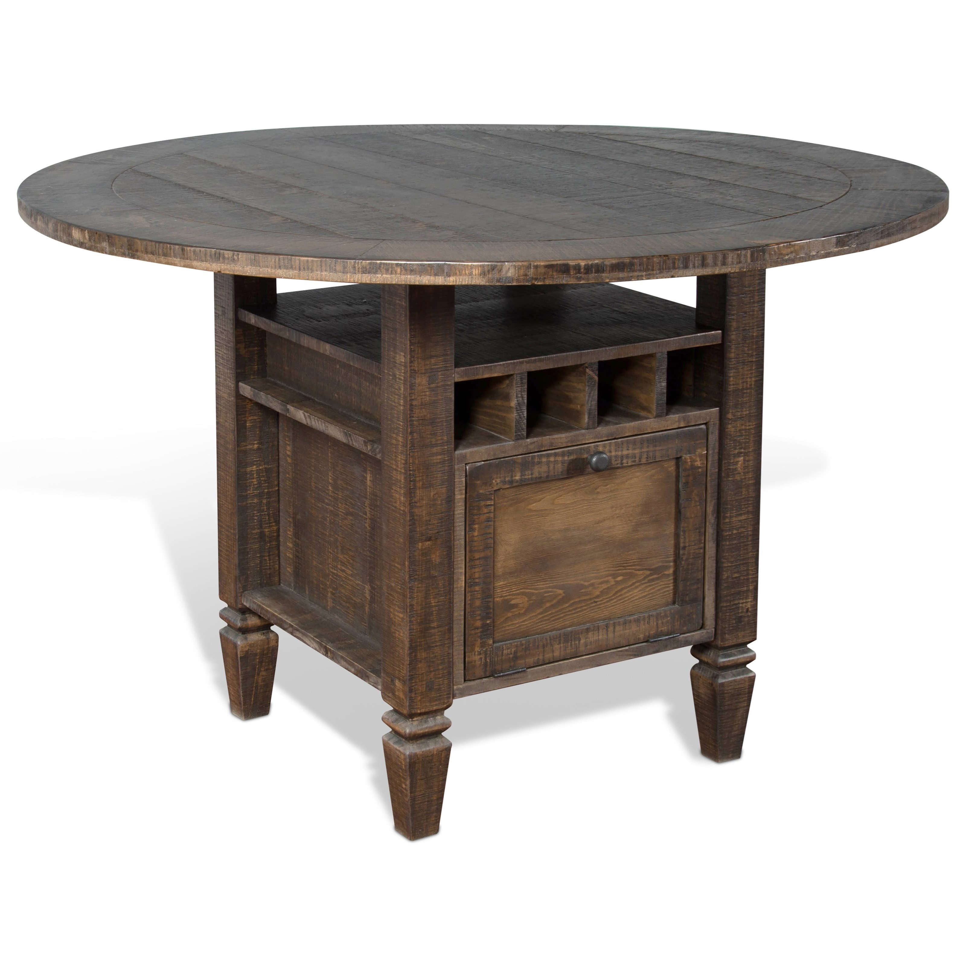 Sunny Designs Homestead Round Counter Height Table With Storage