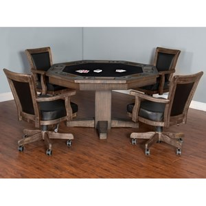 Sunny Designs Homestead Game & Dining Table Set with Game Chairs