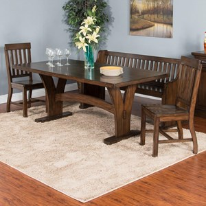 4-Piece Trestle Table Set with Bench