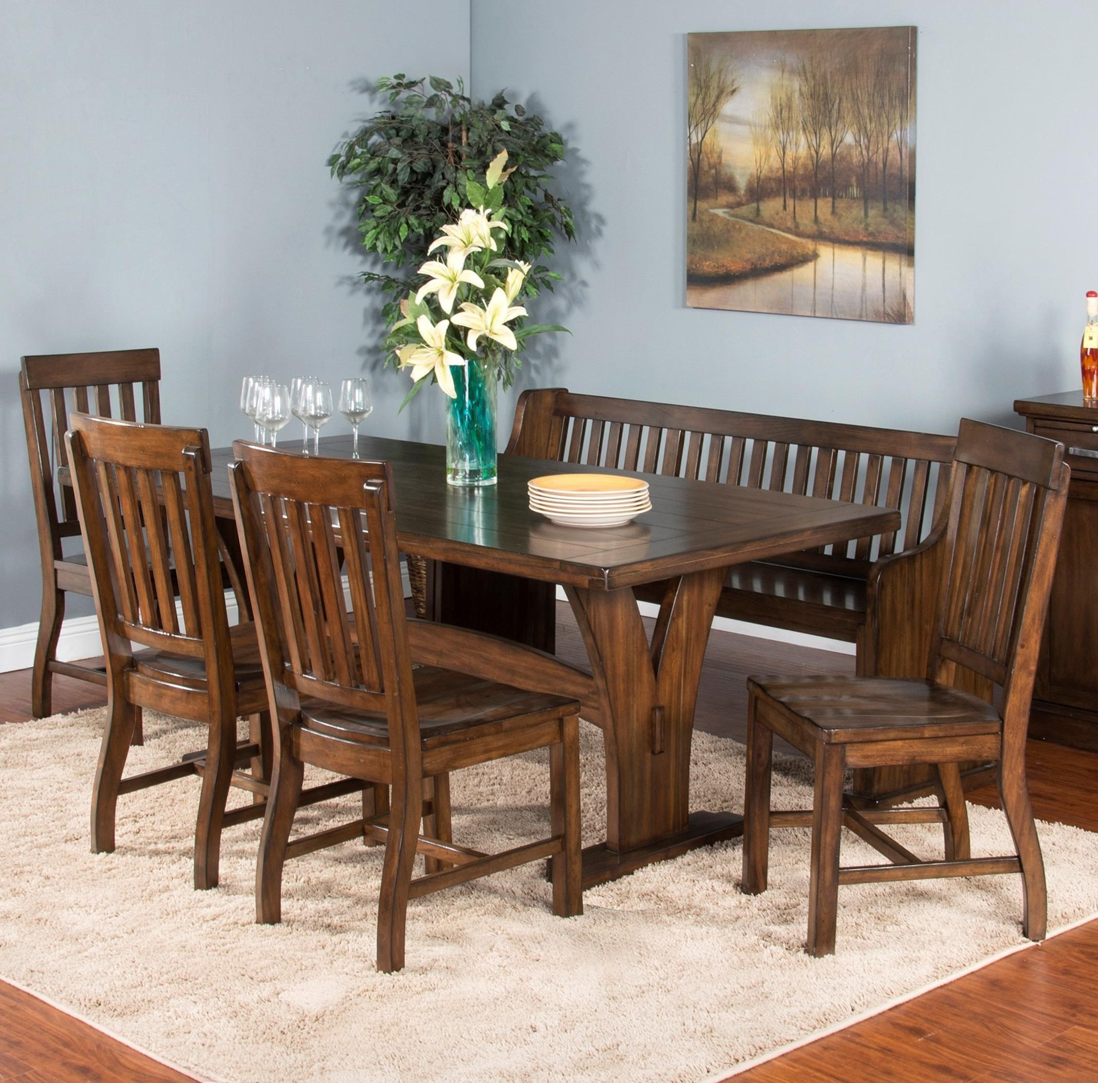 6-Piece Trestle Table Set with Bench