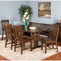 Sunny Designs Lancaster 6-Piece Trestle Table Set with Bench - Item Number: 1027RC+4x1436RC+1437RC