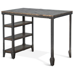 Sunny Designs Metro Flex Lamar Metal Table w/ Wood Top & Shelves