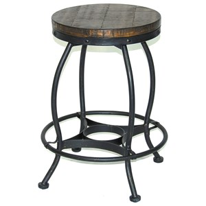 Sunny Designs Metro Flex Lamar Metal Stool w/ Wood Seat