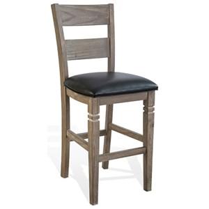 "30"" Ladderback Barstool with Cushion Seat"