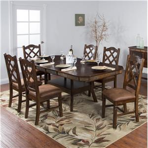 Sunny Designs Santa Fe 7-Piece Adjustable Height Table Set