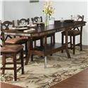 Sunny Designs Santa Fe 7-Piece Adjustable Height Table Set - Detail of table at counter height.