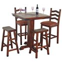 Sunny Designs Santa Fe Traditional Small Square Slate Top Pub Table - Shown with Ladder Back and Saddle Seat Stools