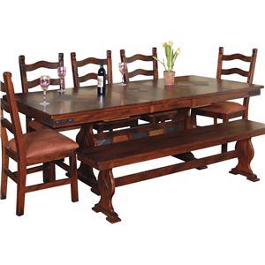 Sunny Designs Santa Fe Slate Top Trestle Dining Table