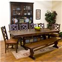 Sunny Designs Santa Fe Traditional Slate Top Trestle Dining Table - Shown with Crossback Chairs