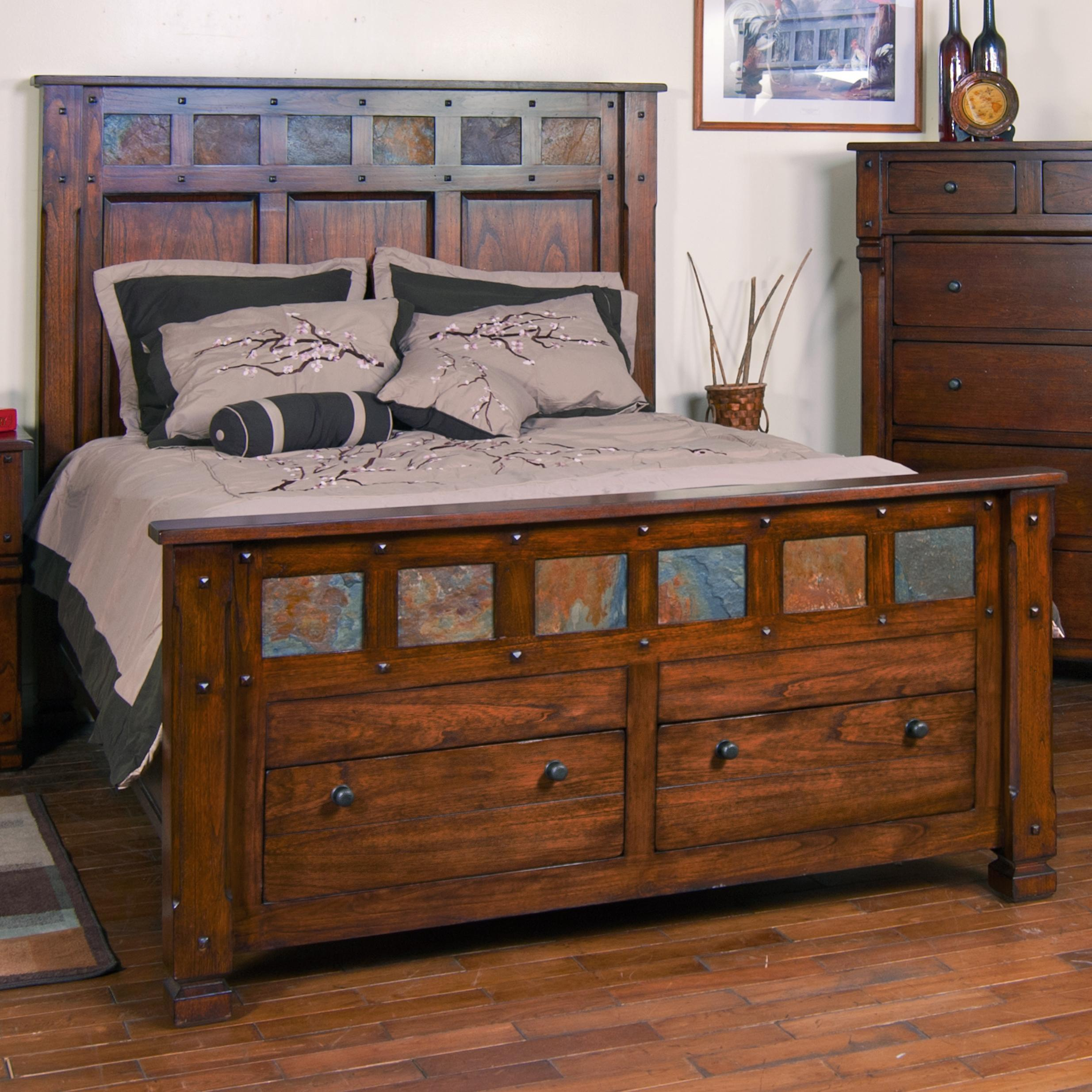 Santa fe king storage bed with slate by sunny designs for Bedroom furniture sets with storage beds