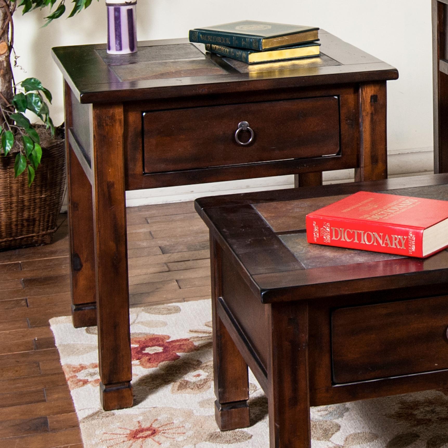 Sunny Designs Santa Fe End Table w/ Slate Top - Item Number: 3144DC-2