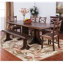 Sunny Designs Savannah Expandable Table Set with Bench - Item Number: 1199AC+4x1504+1494