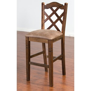 "Sunny Designs Savannah Double Crossback Stool, 30""H"