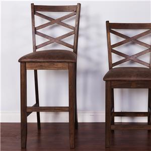 Sunny Designs Savannah Diamond Back Barstool with Cushion Seat, 30H