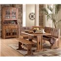 Sunny Designs Sedona Rustic Oak Table Top and Base - Shown with China Cabinet, Bench, and Booth