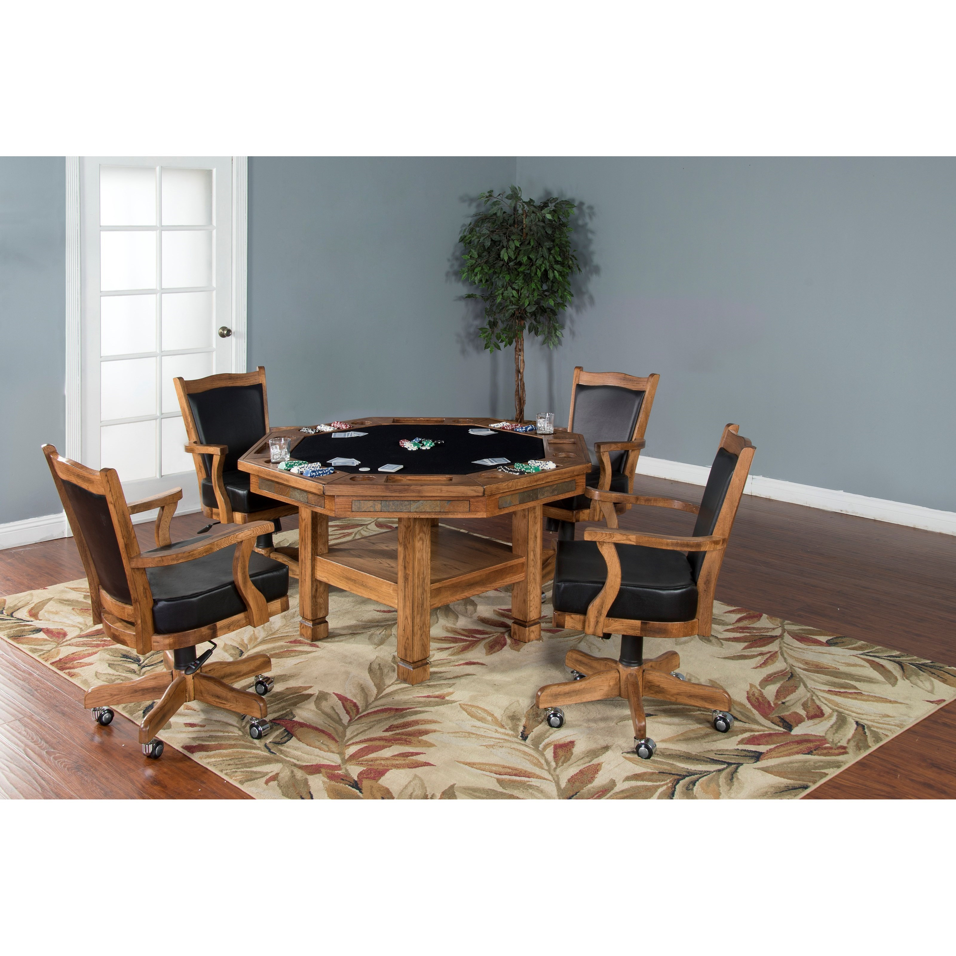 Sunny designs sedona reversible top game dining table for At home designs sedona leather chaise recliner