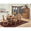 Sunny Designs Sedona Solid Oak Top Extension Table with 2 Leaves - Shown as part of table set with buffet and hutch set