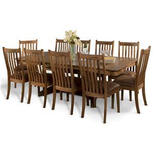 Sunny Designs Sedona 11-Piece Trestle Table w/ 2 Leaves Set