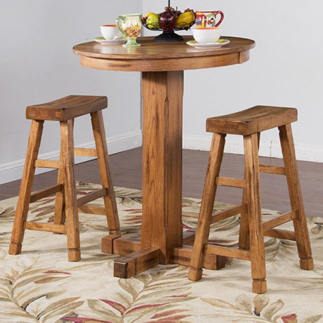 sunny designs sedona rustic oak 3 piece bar set with saddle