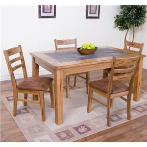 Sunny Designs Sedona 5-Piece Slate Top Dining Table Set