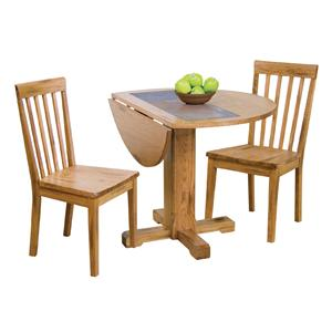 3-Piece Drop Leaf Table w/ Slate & Chair Set