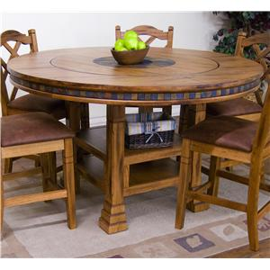 Adjustable Height Round Table w/ Lazy Susan