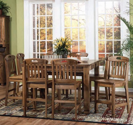 Sunny Designs Sedona Family Table & 8 Barstool Set - Item Number: 1245RO+8x1820RO