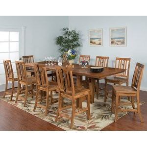 Sunny Designs Sedona 11-Piece Adj. Height Dining Table Set