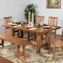 Sunny Designs Sedona 11-Piece Adj. Height Dining Table Set with Butterfly Leaf - Detail of Table at Standard Dining Height
