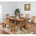 Sunny Designs Sedona 6-Piece Adj. Height Dining Table Set - Item Number: 1356RO+4x1498+1499