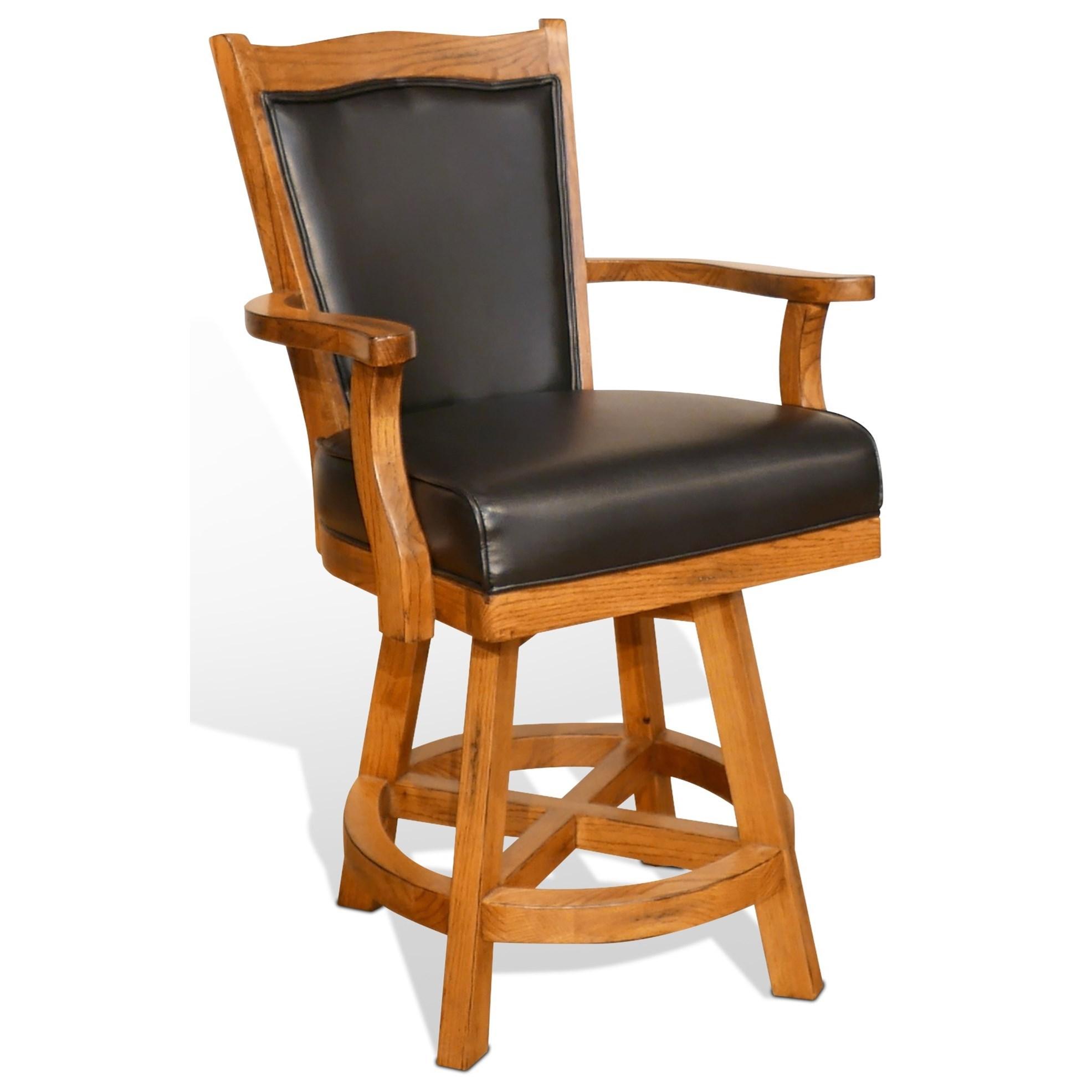 "Sunny Designs Sedona 24"" Cushionback Barstool w/ Swivel - Item Number: 1411RO-24"