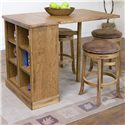 Sunny Designs Sedona Backless Upholstered Swivel Stool - Shown with Pub Table with Bookcase