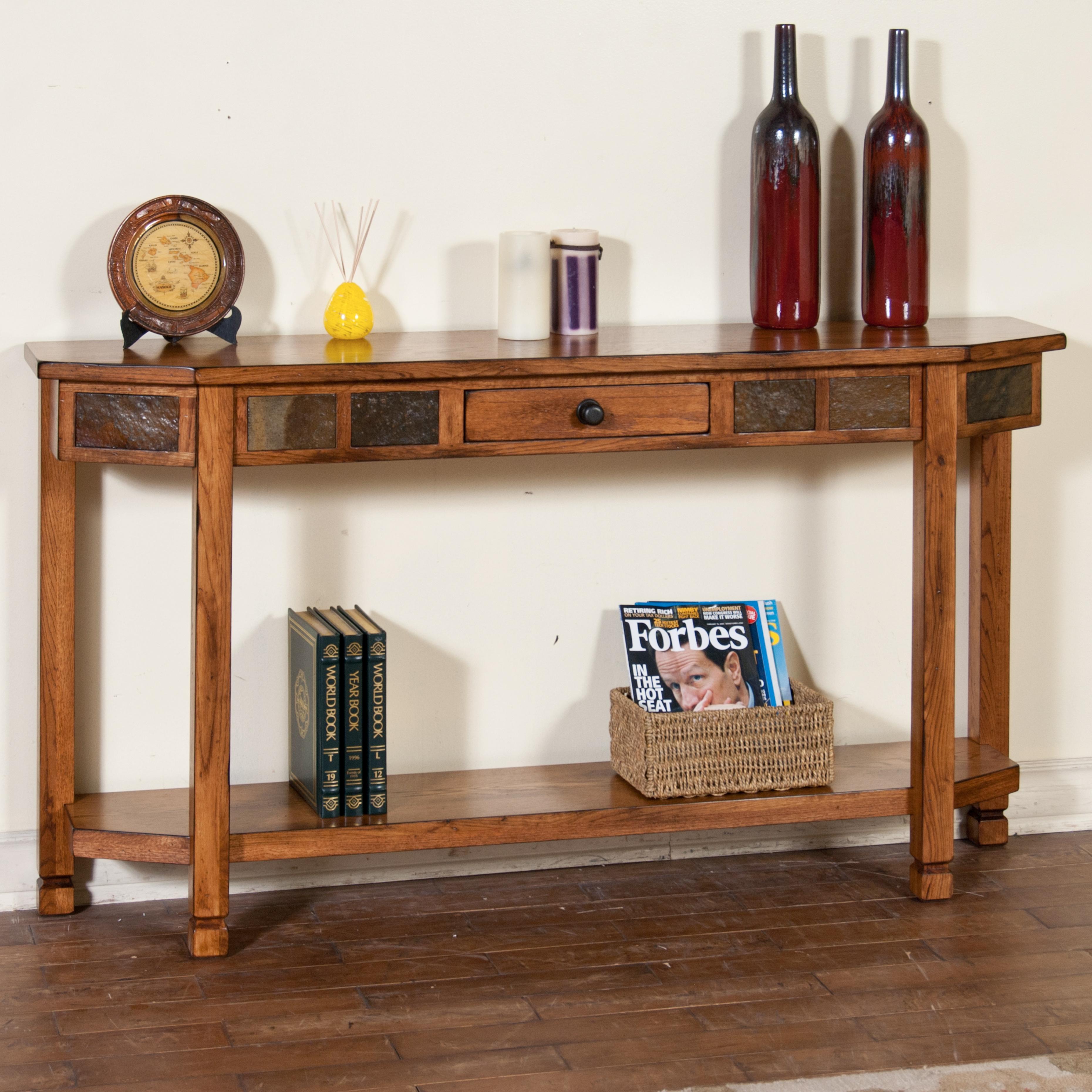 Sunny designs sedona ro rustic oak entry console with
