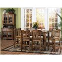 Morris Home Furnishings From Morris Home Furnishings - Rustic Oak China Buffet & Hutch - Shown with pub table set