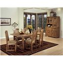 Sunny Designs Sedona Rustic Oak Hutch and Buffet - Shown with table set
