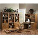 Sunny Designs Sedona Rustic Oak Computer Desk and Hutch - Shown with bookcase wall unit