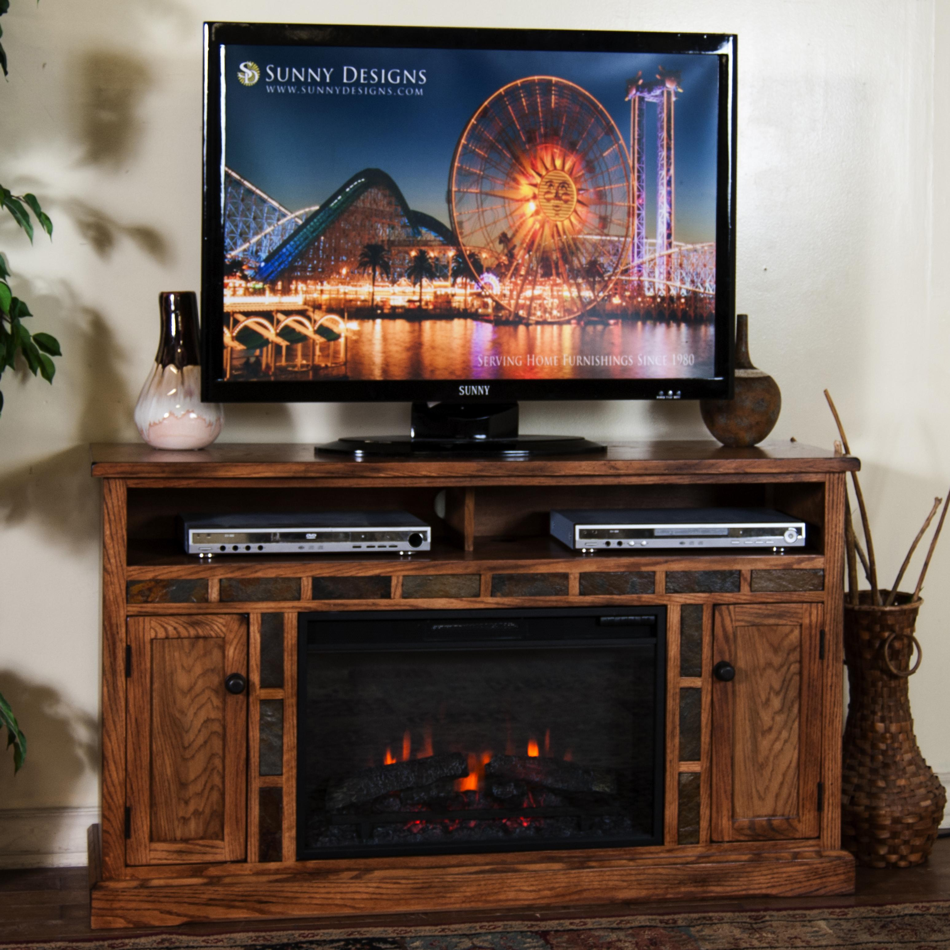 sedona distressed oak fireplace tv console w 26