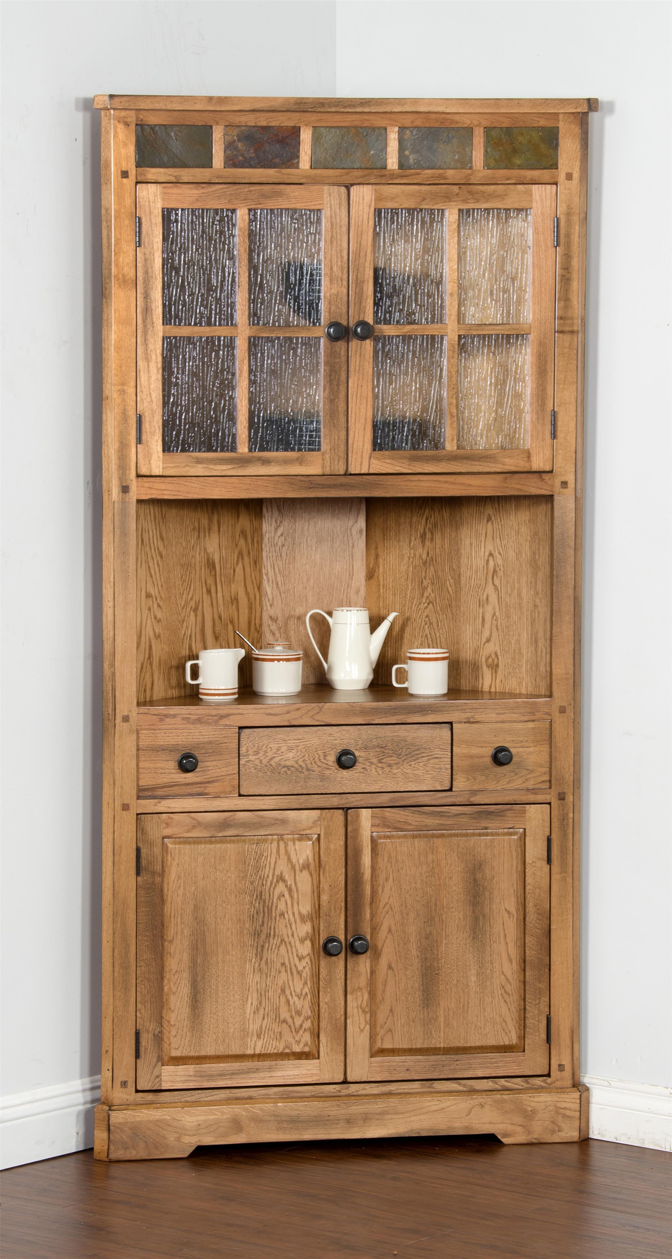 Morris Home Furnishings From Morris Home Furnishings - Oak Corner Curio Cabinet - Item Number: 385826218