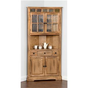 Market Square Morris Home Oak Corner Curio Cabinet