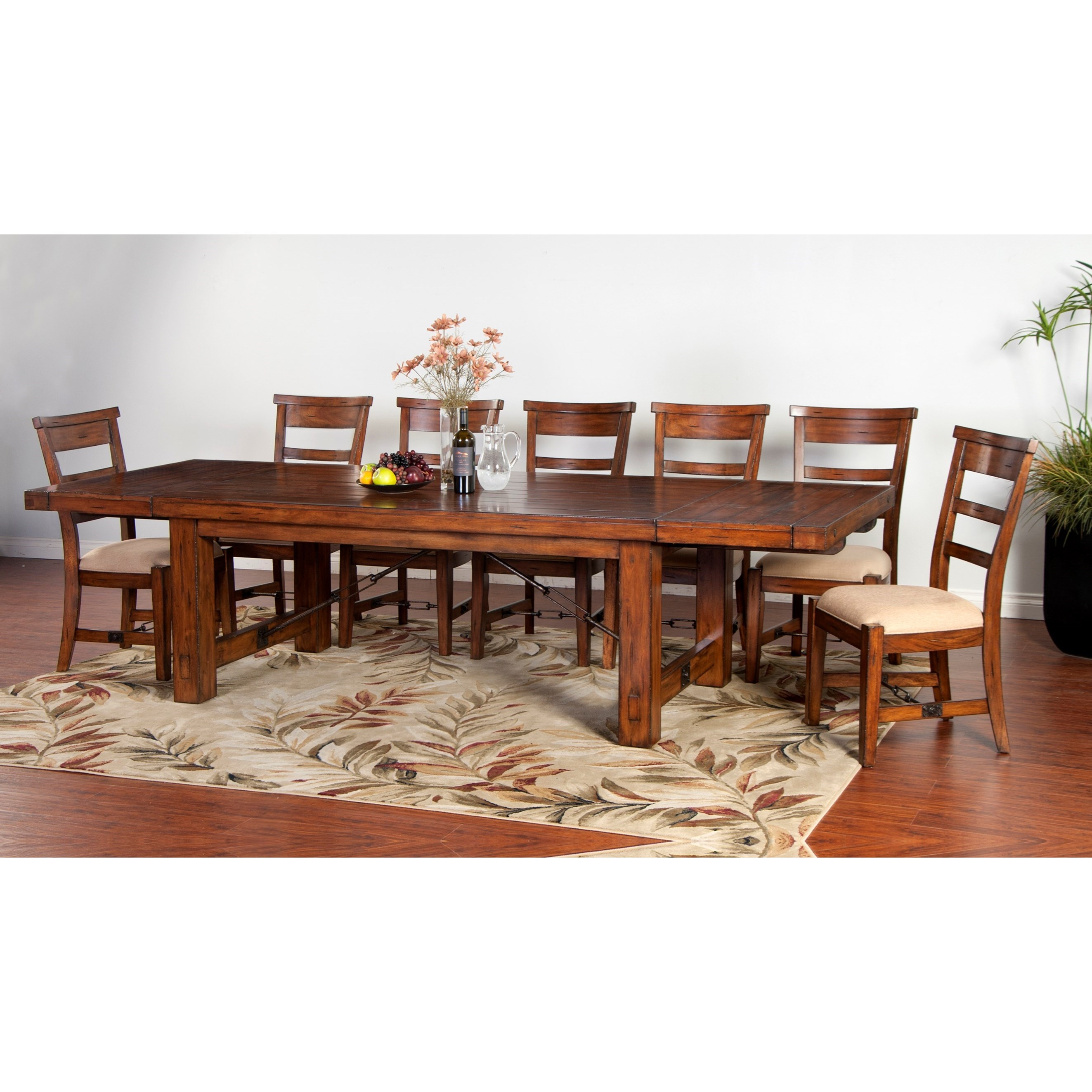 Sunny designs tuscany distressed mahogany extension table fashion furniture dining tables - Tuscany dining room furniture ideas ...