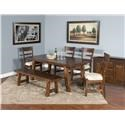 Sunny Designs Tuscany 6 Piece Table / Chair Set and Bench - Item Number: 1380VM+4x1604+1615