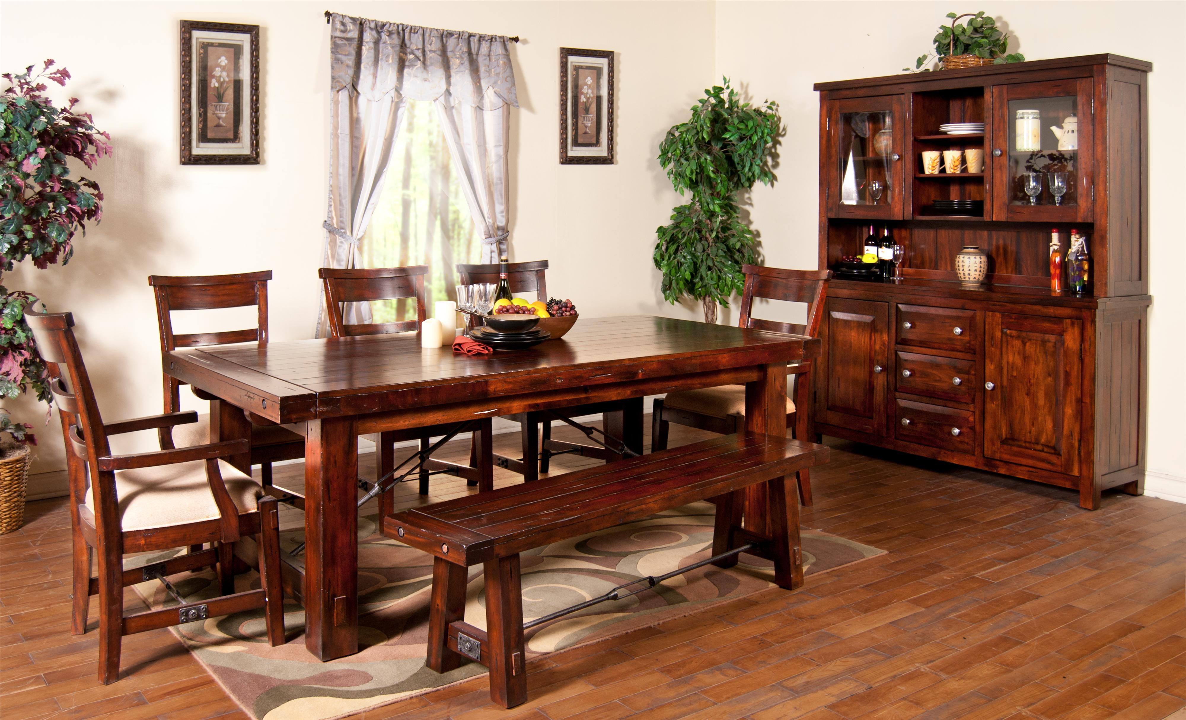 Vineyard 7 Piece Extension Table With Chairs And Bench Set By Sunny Designs Wolf Furniture