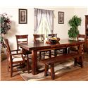 Sunny Designs Vineyard Dining Bench with Wood Seat and Metal Stretcher - Shown with Arm Chairs, Side Chairs, and Table
