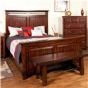 Sunny Designs Vineyard Queen-Size Panel Bed with Carved Panel Detail - Bed Shown May Not Represent Size Indicated