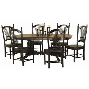 Sunset Trading Co. Double Pedestal Trestle Table Table with Six Chairs
