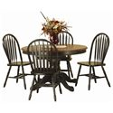 Sunset Trading Co. Sunset Selections 5 Piece Dining Set - Item Number: DLU-TBX-4866-SET-BCH+4x820-AB